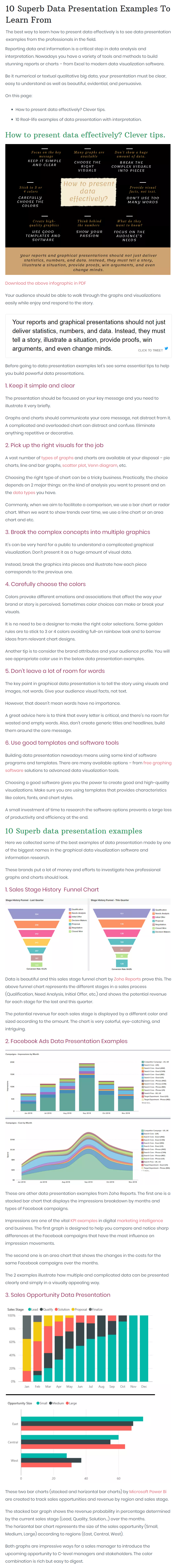 data presentation examples