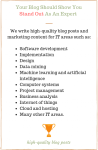 IT areas of our expertise